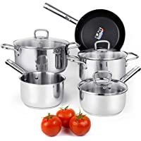 Viewee Cookware Set Stainless Steel Pots and Pans Sets with Nonstick Coated Skillet 8-Piece Kitchenware Set Dishwasher & Oven Safe Tri-Ply with Lids, PFOA Free Compatible to Multi-Stove Top for Home
