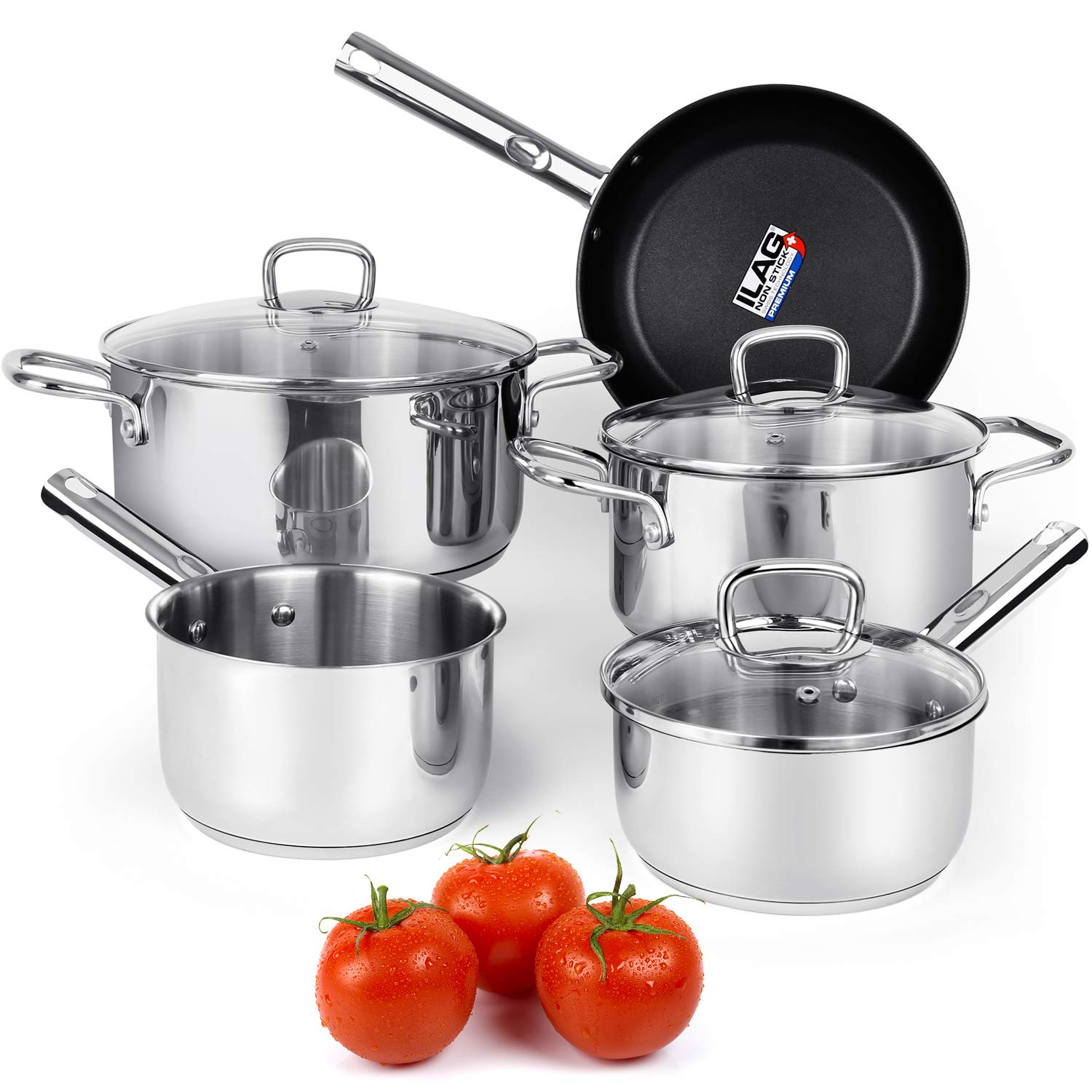 Viewee Cookware Set Stainless Steel Pots and Pans Sets with Nonstick Coated Skillet 8-Piece Kitchenware Set Dishwasher & Oven Safe Tri-Ply with Lids, PFOA Free Compatible to Multi-Stove Top for Home by Viewee