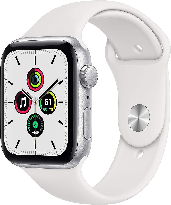 Novità Apple Watch SE (GPS, 44 mm) Cassa in alluminio color argento con Cinturino Sport bianco