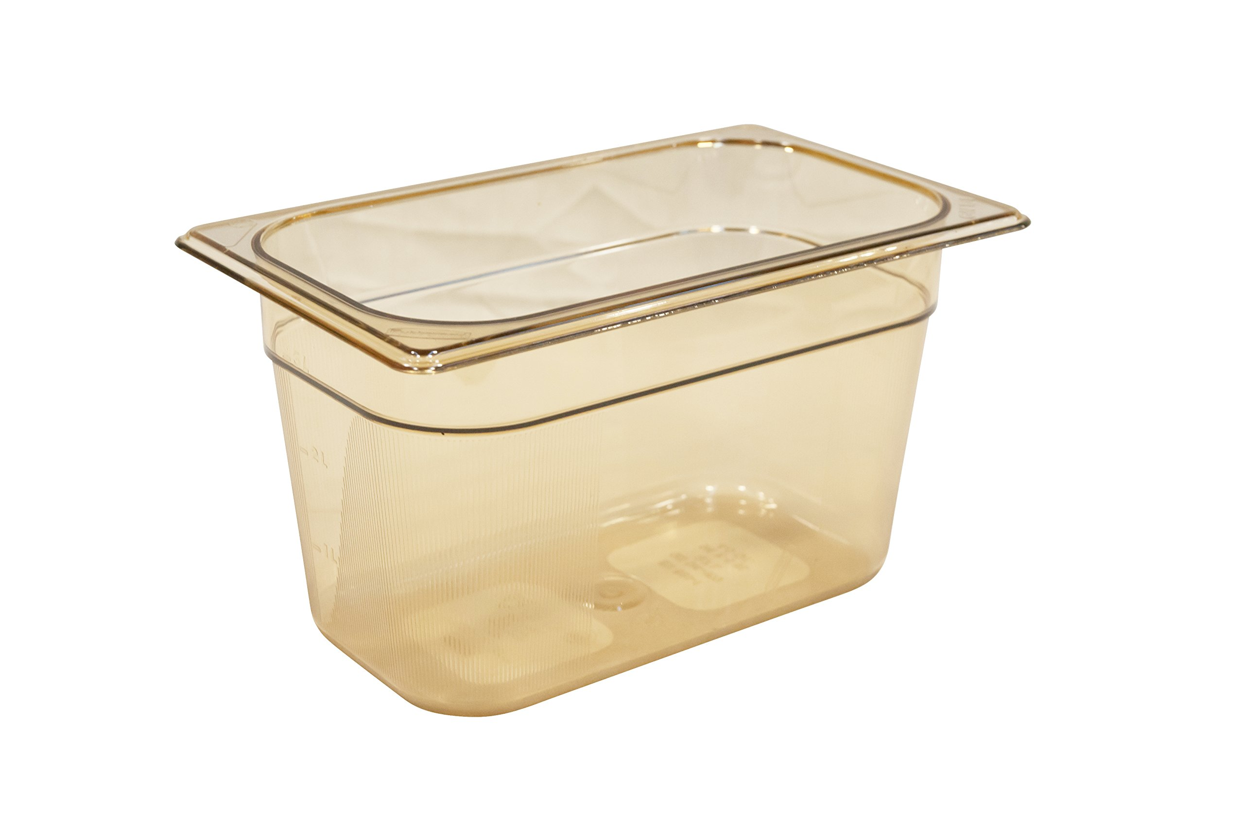 Rubbermaid Commercial Products FG212P00AMBR Hot Food Pan, 1/4 Size, 4 quart, Amber