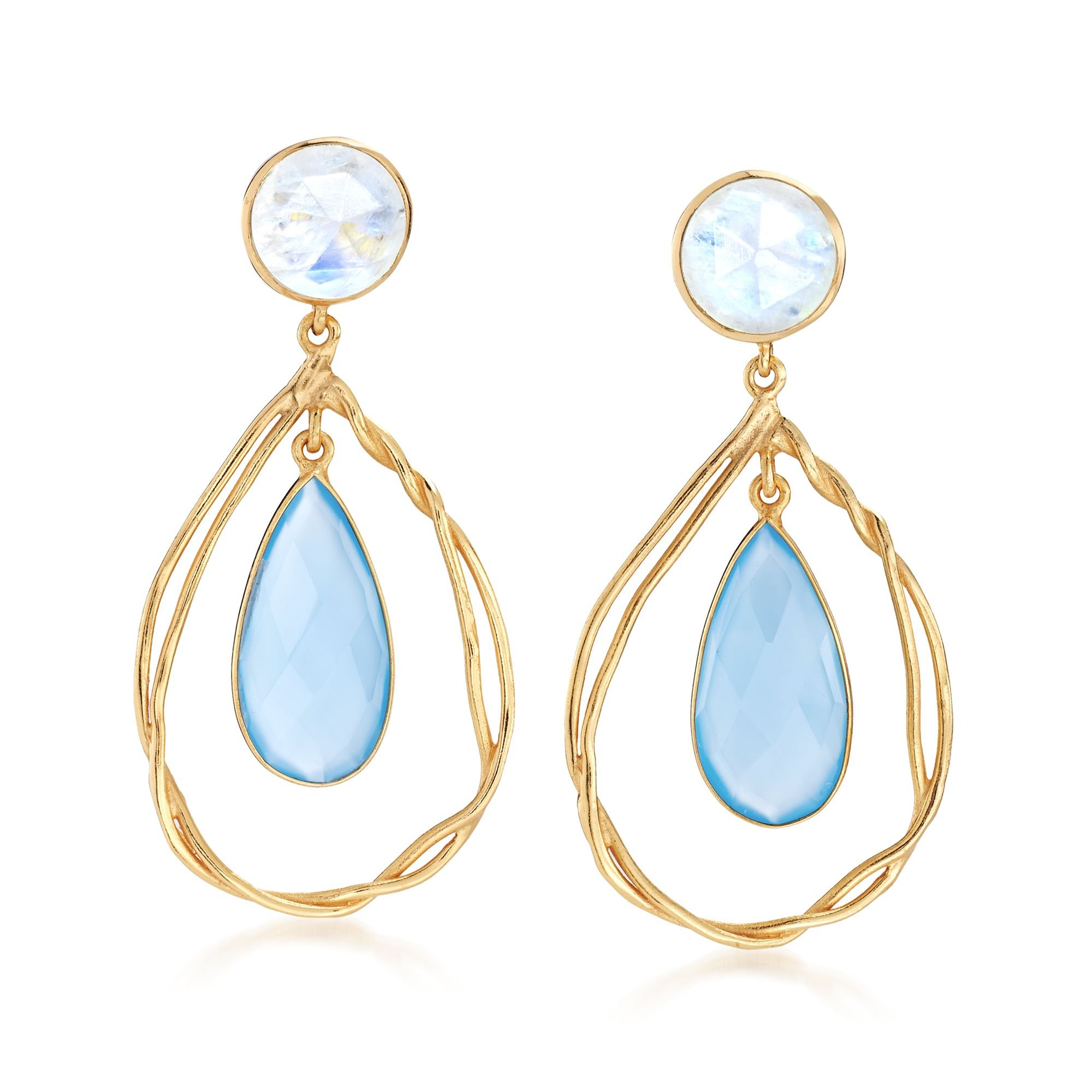 Ross-Simons Blue Chalcedony and Moonstone Open Teardrop Earrings in 18kt Gold Over Sterling