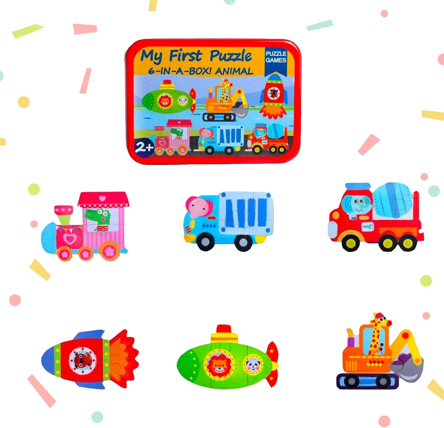 Baby's First Puzzle Wooden Animal and Vehicles Puzzles for Cognitive Development of Toddlers and Preschoolers – Homeschooling and Kindergarten Montessori Teaching Aids – Service Vehicles