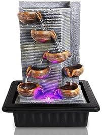 Shop amazon indoor fountains accessories serenelife multi tiered desktop electric water fountain decor w led indoor outdoor portable tabletop workwithnaturefo