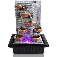 SereneLife - Fuente de agua eléctrica de sobremesa de varios niveles con luz LED para interiores y exteriores, portátil, decorativa, kit de meditación de Zen, incluye bomba sumergible y adaptador de 12 V – SLTWF85LED
