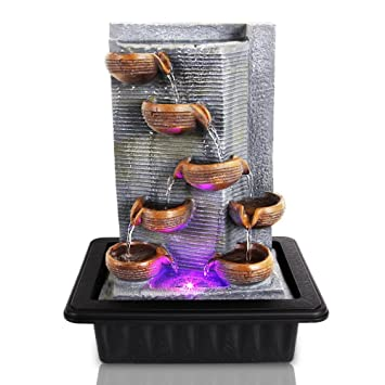 SereneLife Multi Tiered Desktop Electric Water Fountain Decor W/ LED    Indoor Outdoor Portable Tabletop