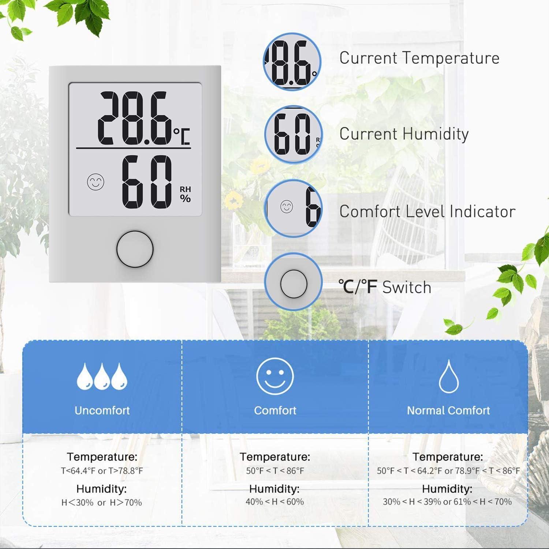 B/üro Wohnzimmer Hygrometer Innen 2 St/ück Digital Tragbares Thermometer Hygrometer Innen//Ausen Raumthermometer Hydrometer Feuchtigkeit mit hohen Genauigkeit usw Komfortanzeige f/ür Babyraum