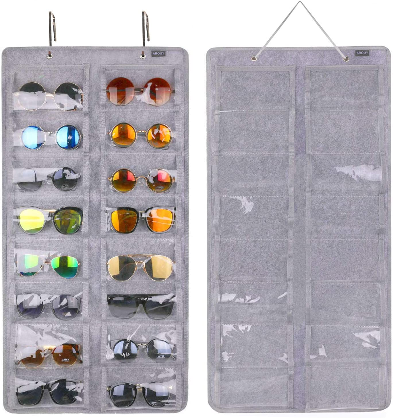 Eyewear Storage. 16 Felt Slots Sunglasses Organizer Holder with Sturdy Rope Sunglasses Organizer Storage Hanging Dust Proof Wall Pocket Glasses Organizer Eyeglasses Display Case