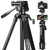58 inch Camera Tripod, GooFoto 6.6lb/3KG Load Portable Lightweight Aluminum Travel Tripod for Nikon/DSLR/Sony/Canon/iPhone/Ph
