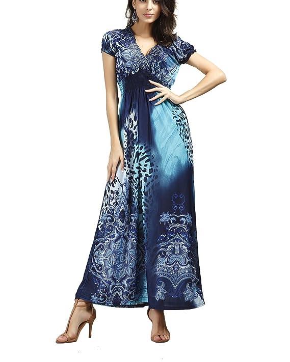Morysong Womens Casual Dresses Bohemian Summer Maxi Dress V Neck