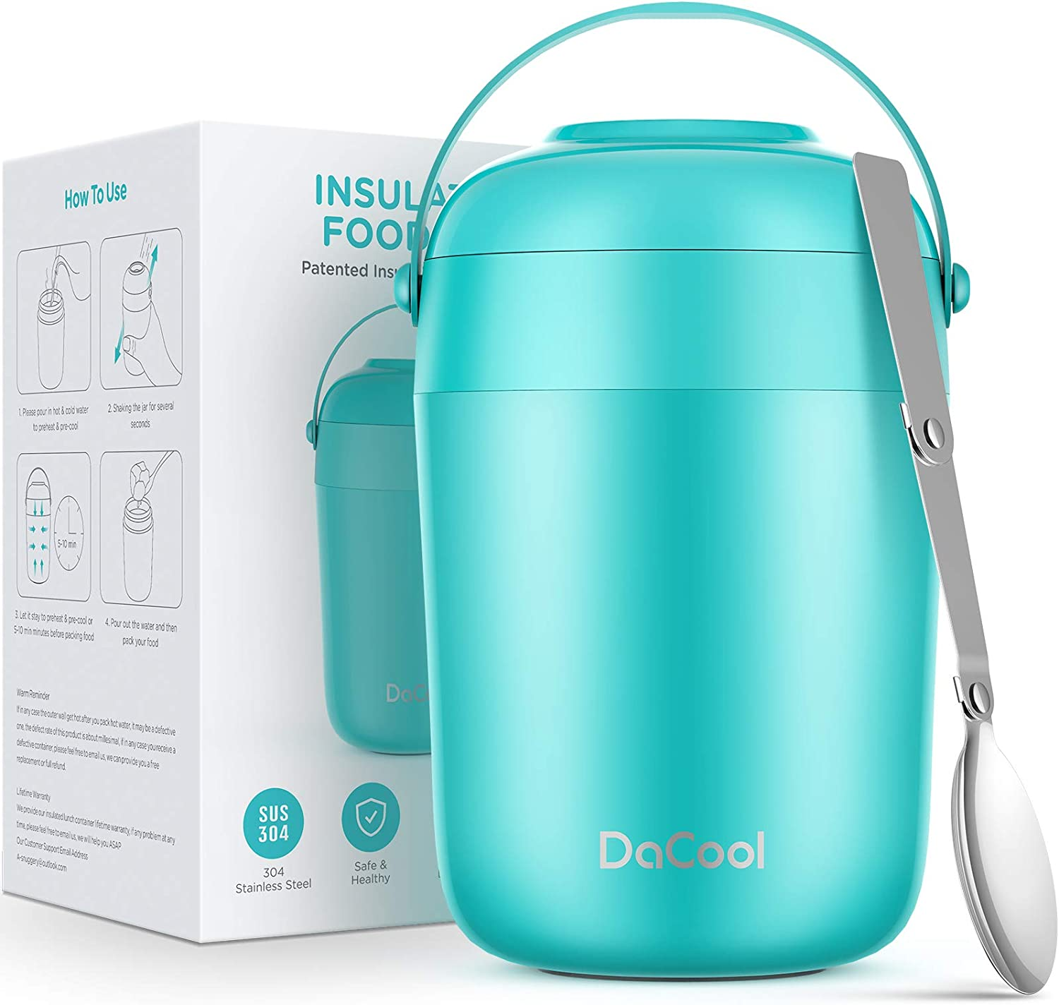 DaCool Food Thermos for Hot Cold Food 16oz - Insulated Food Jar Kids Soup Thermos with Spoon Handle Vacuum Stainless Steel Girls Boys Lunch Box Leakproof for School Office Picnic Camping, Cyan Blue