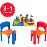 Best Choice Products 3-in-1 Kids Activity Recreational Play Table Set w/Building Block Table, Craft Table, Water Table, Storage Compartment, 2 Chairs - Multicolor