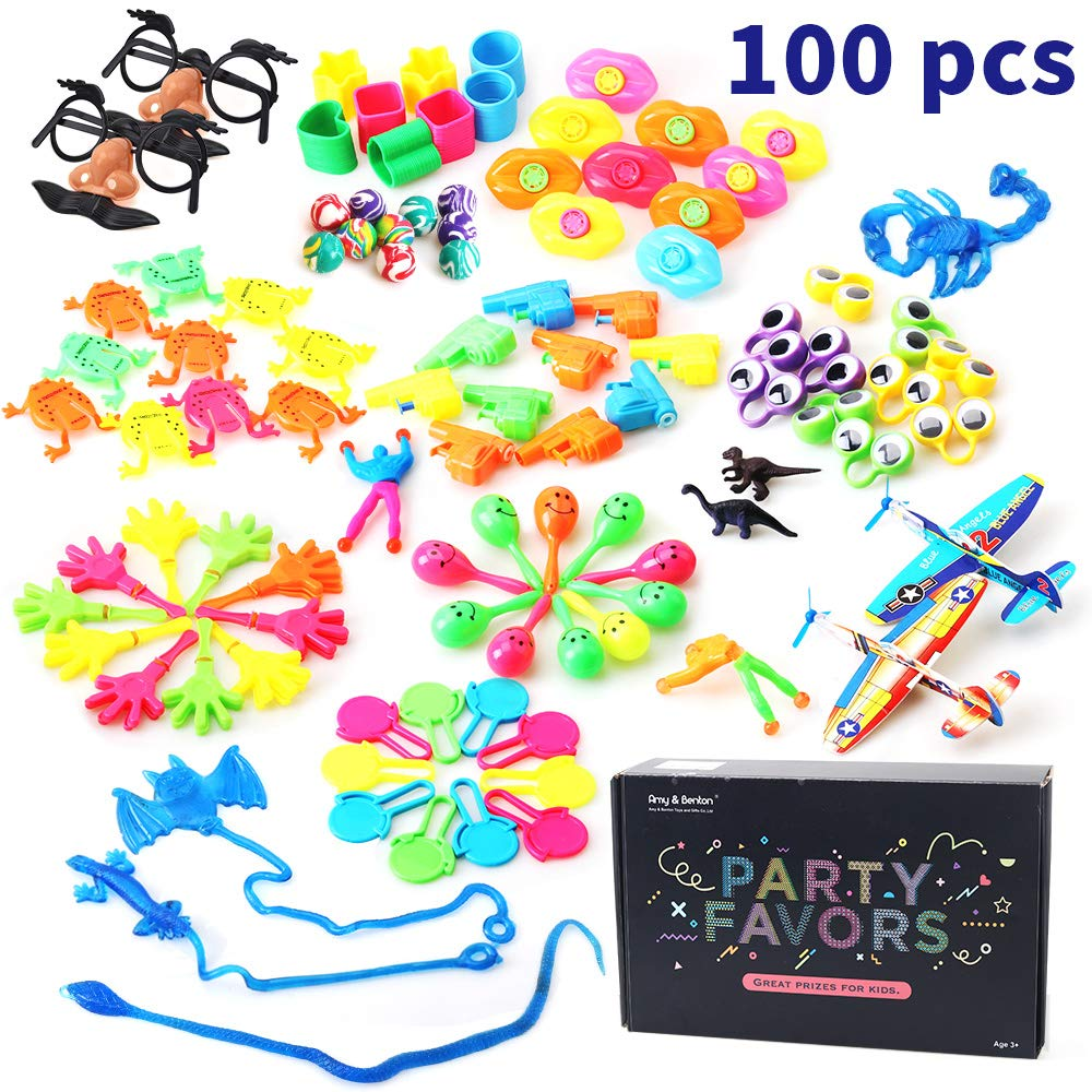 Amy & Benton Pinata Filler for Kids Birthday Party Favors, Prize Box Toys for Classroom Rewards, Treasure Box Prizes for Classroom for Boys 100 PCS
