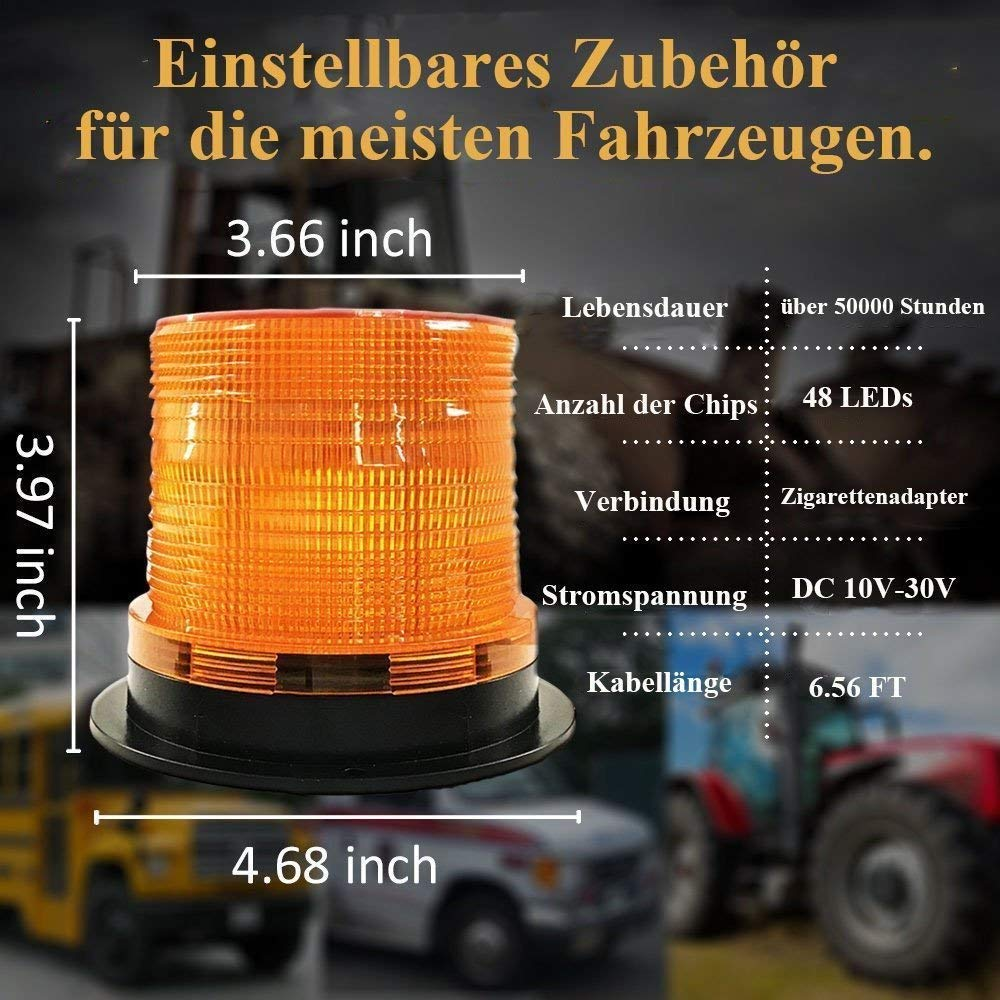 Auto 48/LED Luz de aviso magn/ético Blink l/ámpara luz de emergencia luz de alarma para la mayor/ía de farzeug de camiones de coches BIG Ant contorno l/ámpara naranja