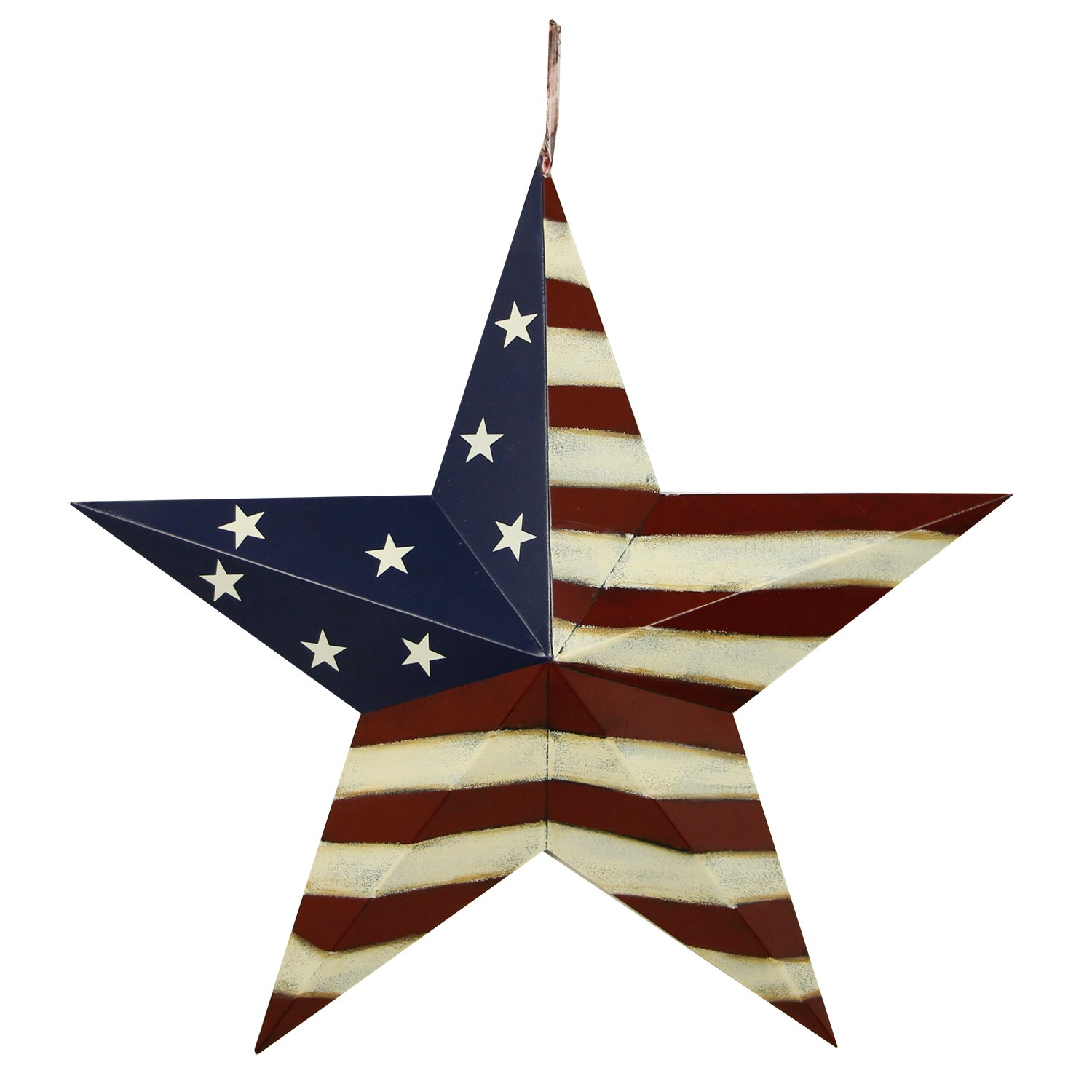 YK Decor Patriotic Old Glory American Flag Barn Star 4th of July Rustic Metal Dimensional 3D Star Wall Decor, (22'')