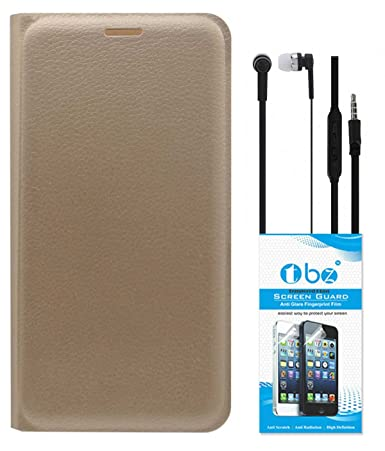 RRTBZ PU Leather Flip Cover Case for Lenovo Vibe K5 Plus with Earphone and Tempered Screen Guard  Golden