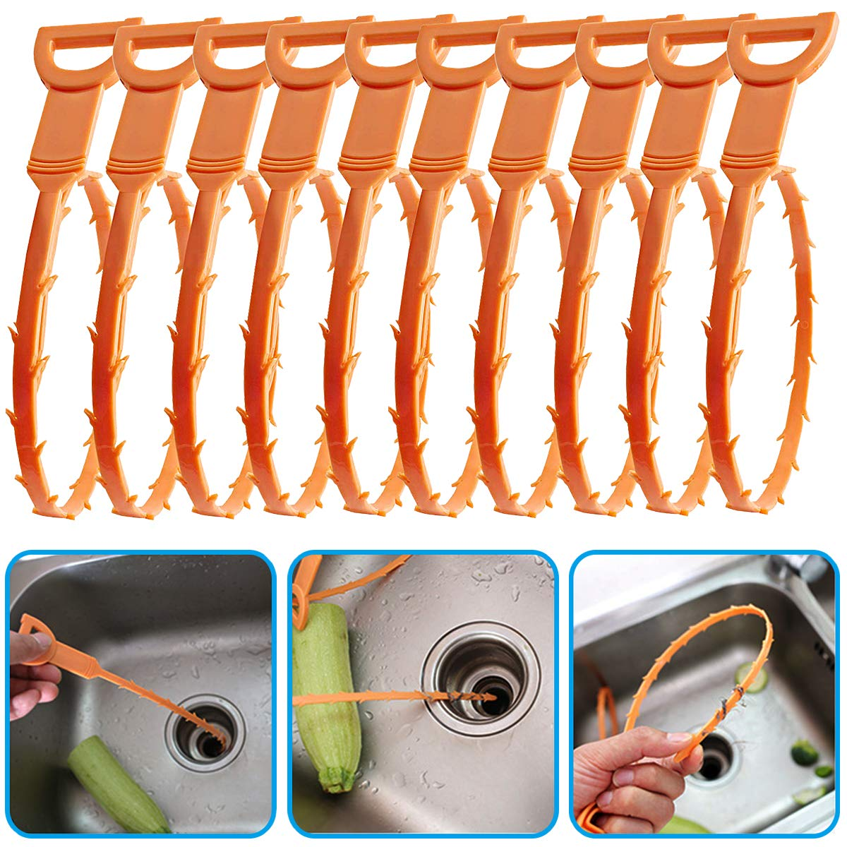 Mcree 10 Pcs Drain Snake for Drain Clog Hair Remover Cleaning Tool Drain UnBlocker Tool/Hair Remover Sink/Shower Cleaner Cleaning/Plumbers U Plunger/Bend Snake Catcher for Toilet Kitchen Bathroom Dazzling Sunshine