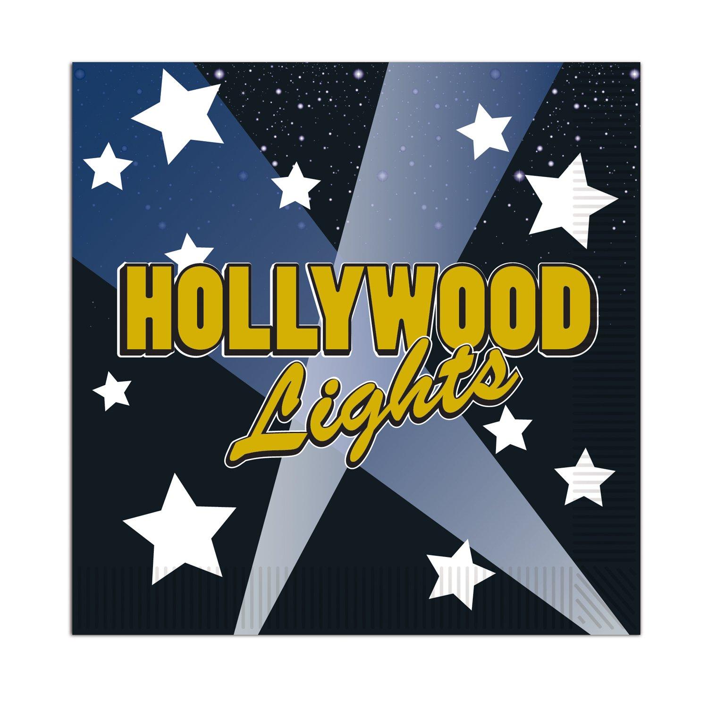 2-Ply Hollywood Lights Beverage Napkins 16//Pkg