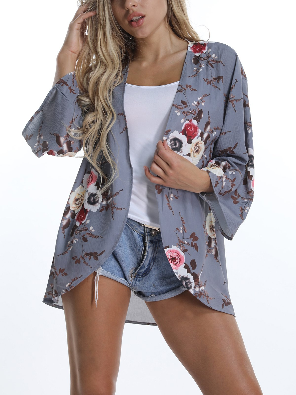 VYNCS Women's Sexy 3/4 Sleeve Floral Print Cardigans Blouse Tops Chiffon Casual Beach Cover up Summer (Grey, Medium)