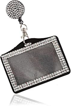 Horizontal Bling Rhinestone ID Badge Holder with Alligator Clip
