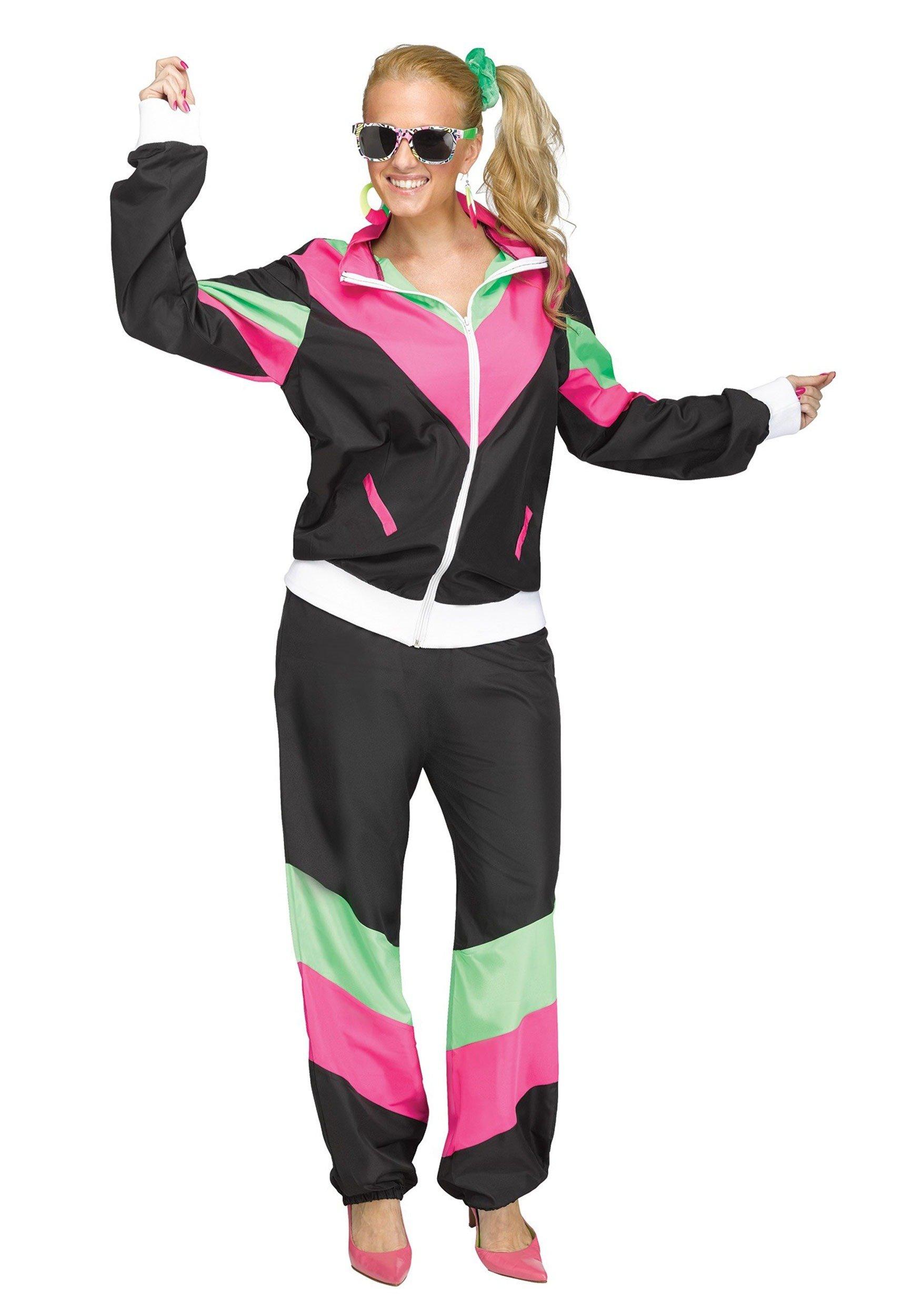 Fun World Women's 80's Sweat Suit, Black, M/L Size 10-14