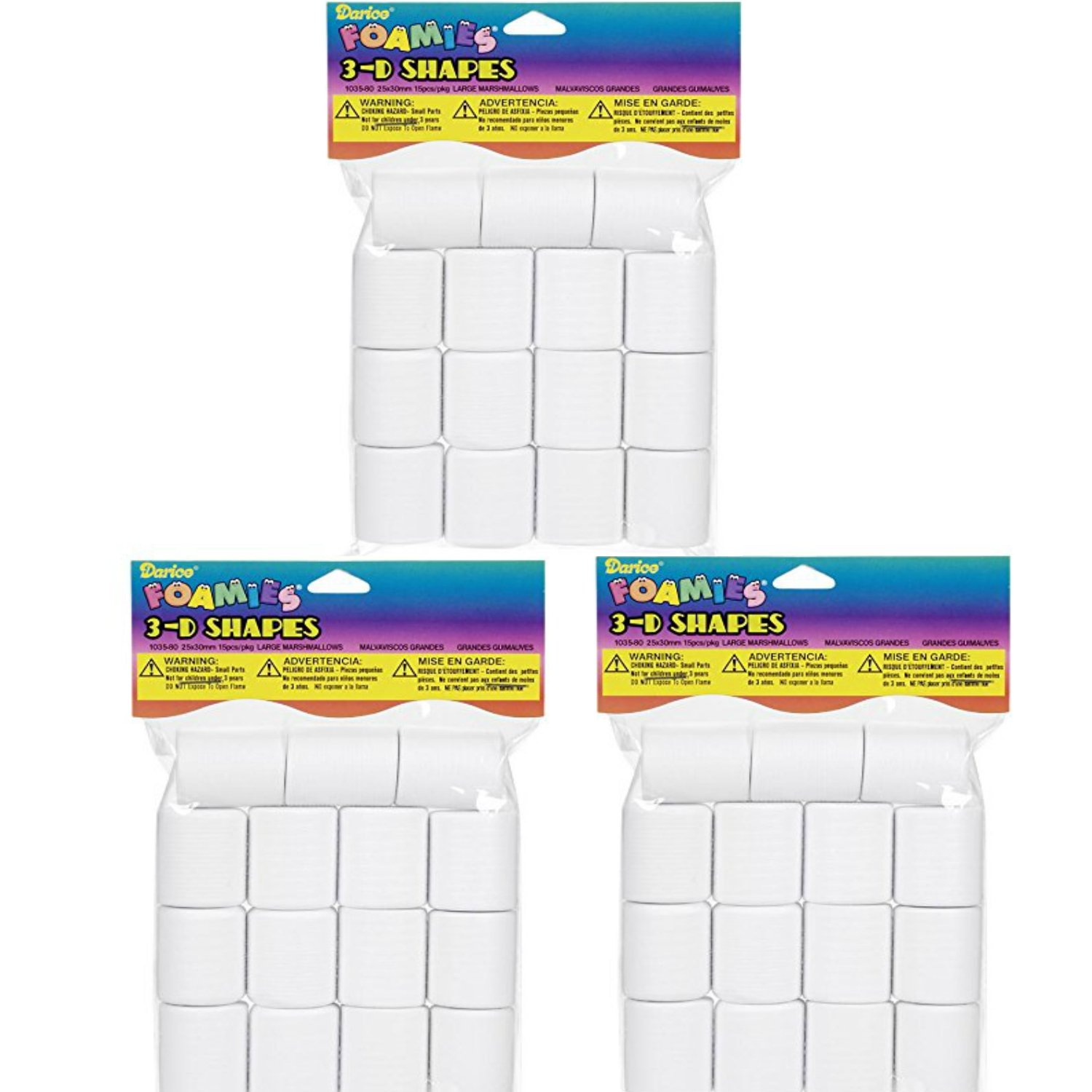 Darice 15-Piece Foam Marshmallow Shapes 3 Pack 25mm by 30mm