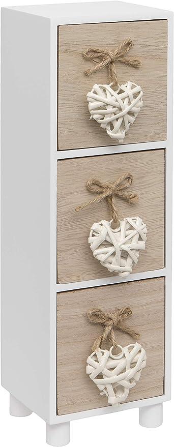 Cassettiera in Legno con Cuori Intrecciati Colore Bianco Maturi