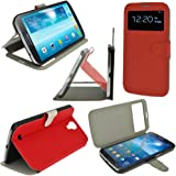 iGadgitz Premium Executive Flip Red PU Leather Case Cover for Samsung Galaxy Mega 6.3 I9200 With Sleep Wake + Magnetic Closure + Screen Protector