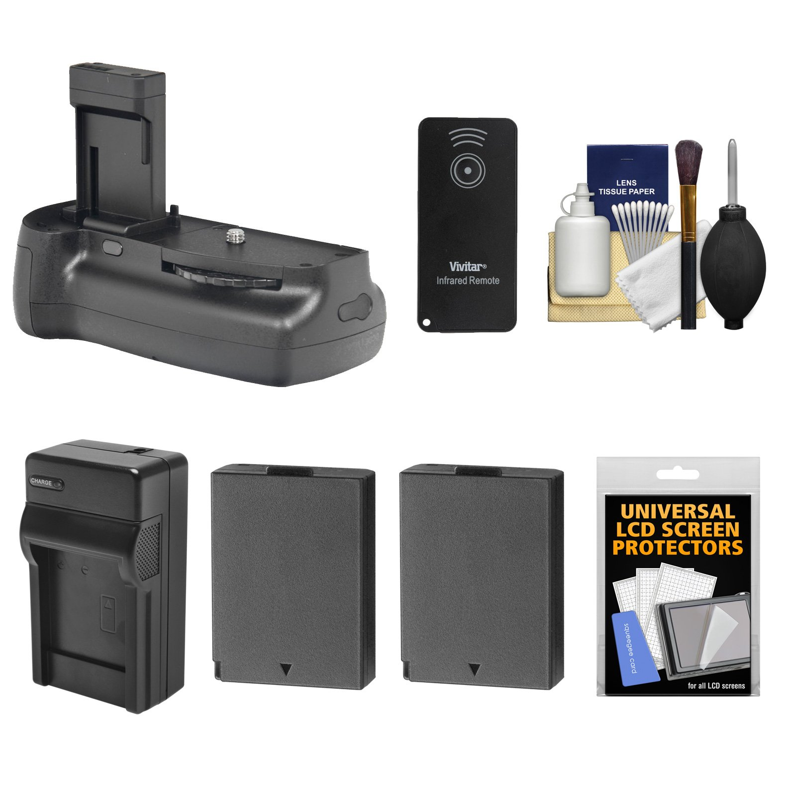 Vivitar Multi-Power Battery Grip for Canon EOS Rebel T3, T5 & T6 DSLR Camera with 2 LP-E10 Batteries + Charger + Remote + Kit by Vivitar
