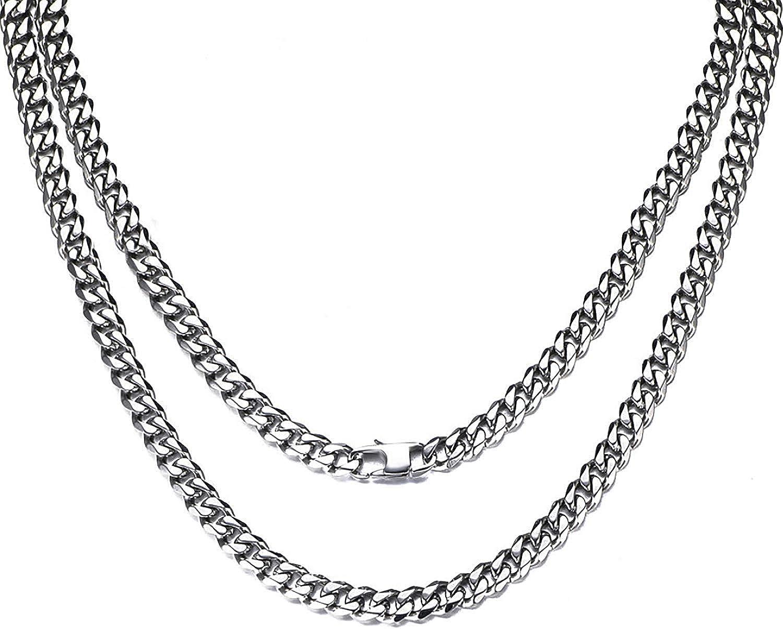 Collar Hombre de Acero Inoxidable Plata Cadena Cubana de Eslabones Cuadrados Ancho 6//10//12MM 36//46//51//55//61//66//71//76cm Joyas en Caja