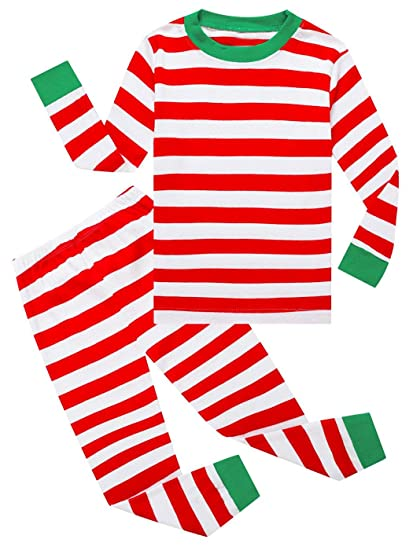 Dutebare Kid Boys Christmas Pajamas Toddler Xmas PJS Striped Pants Set  Sleepwear Red Striped 4T 73aa839b8