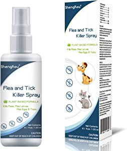Flea and Tick Spray for Dogs & Cats Safe Humans Kids & Pet Vet's Treatment Best Pets Ticks, Fleas and Insect Killer Best for Home Yard, Outdoor and Indoor House, No Powder & All Natural, Charity !