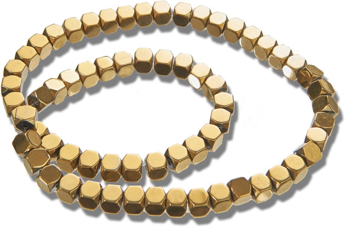 EIMASS® Piedras preciosas semipreciosas piedras naturales cubo cuentas para bisutería, Gold Hematite, 3 mm