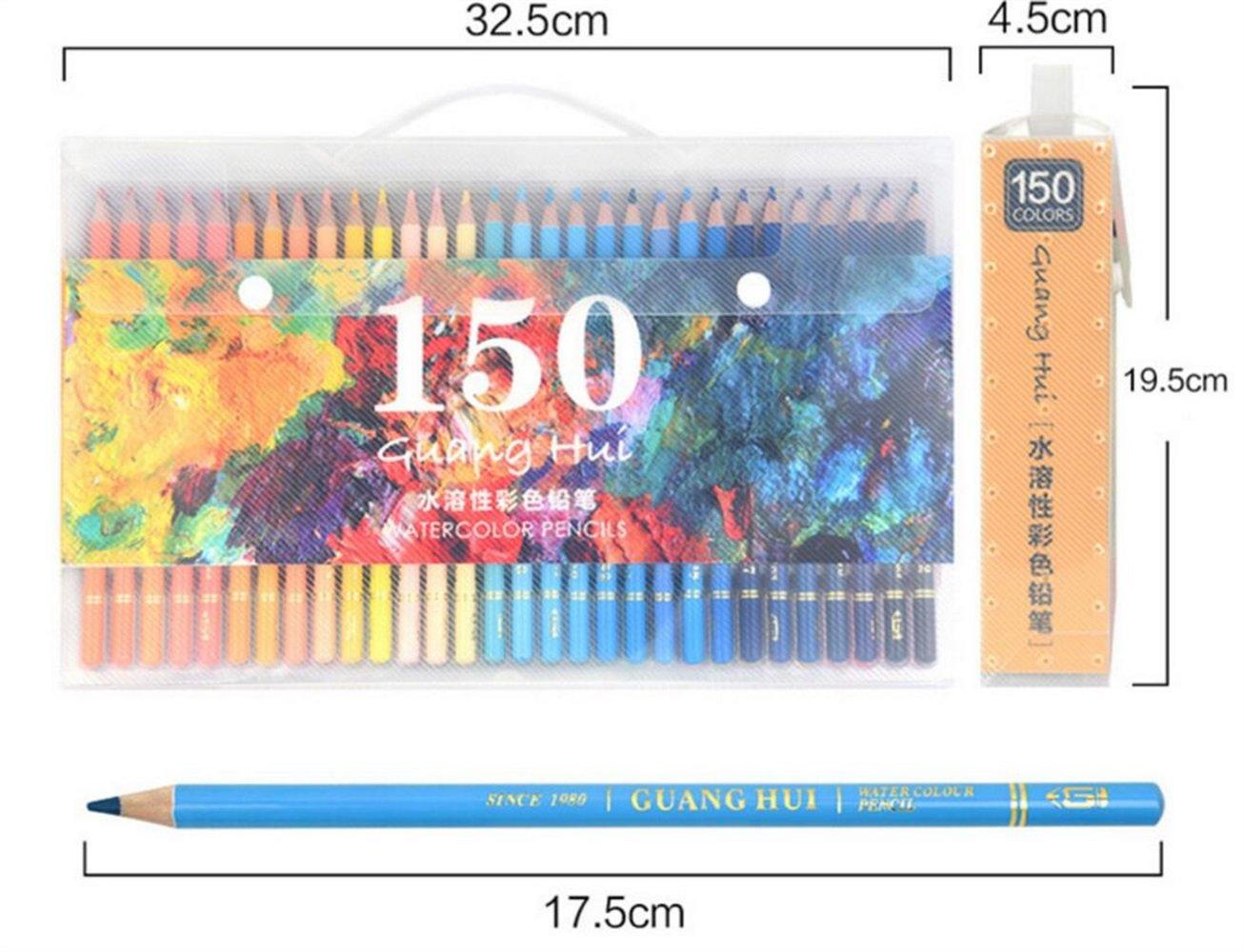 School Stationery Student Using 150 lápices de Colores de Agua solubles en Agua para niños Adultos Artista de Arte Dibujo bocetos de Escritura Ilustraciones para Colorear Libros