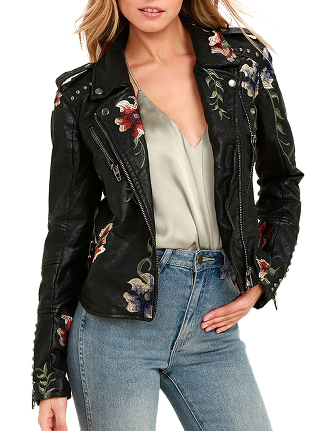Glamaker Women's Long Sleeves Faux Leather Zipper Jacket Coat Embroidery Floral Pu Leather Outwear (XXL, Black) by Glamaker