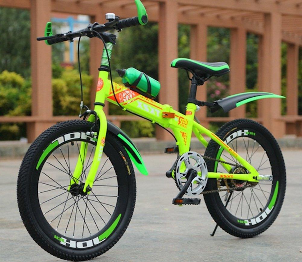 子供用折りたたみ自転車, 学生折りたたみ自転車 男 光ポータブル マウンテン バイク 折りたたみ自転車 B07DKBS8T2 18inch|緑 緑 18inch