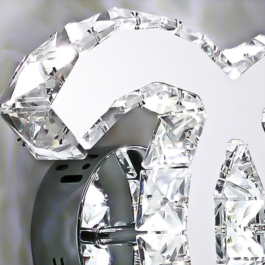 LED Cristal Luz de Pared 18W Moderno Dise/ño Acero Inoxidable Espejo Iluminaci/ón de Pared Cuarto del Beb/é Cuarto Sala Semic/írculo Doble C Decorativo L/ámpara de Pared Luz Interior L27cm*W21cm Luz Blanca