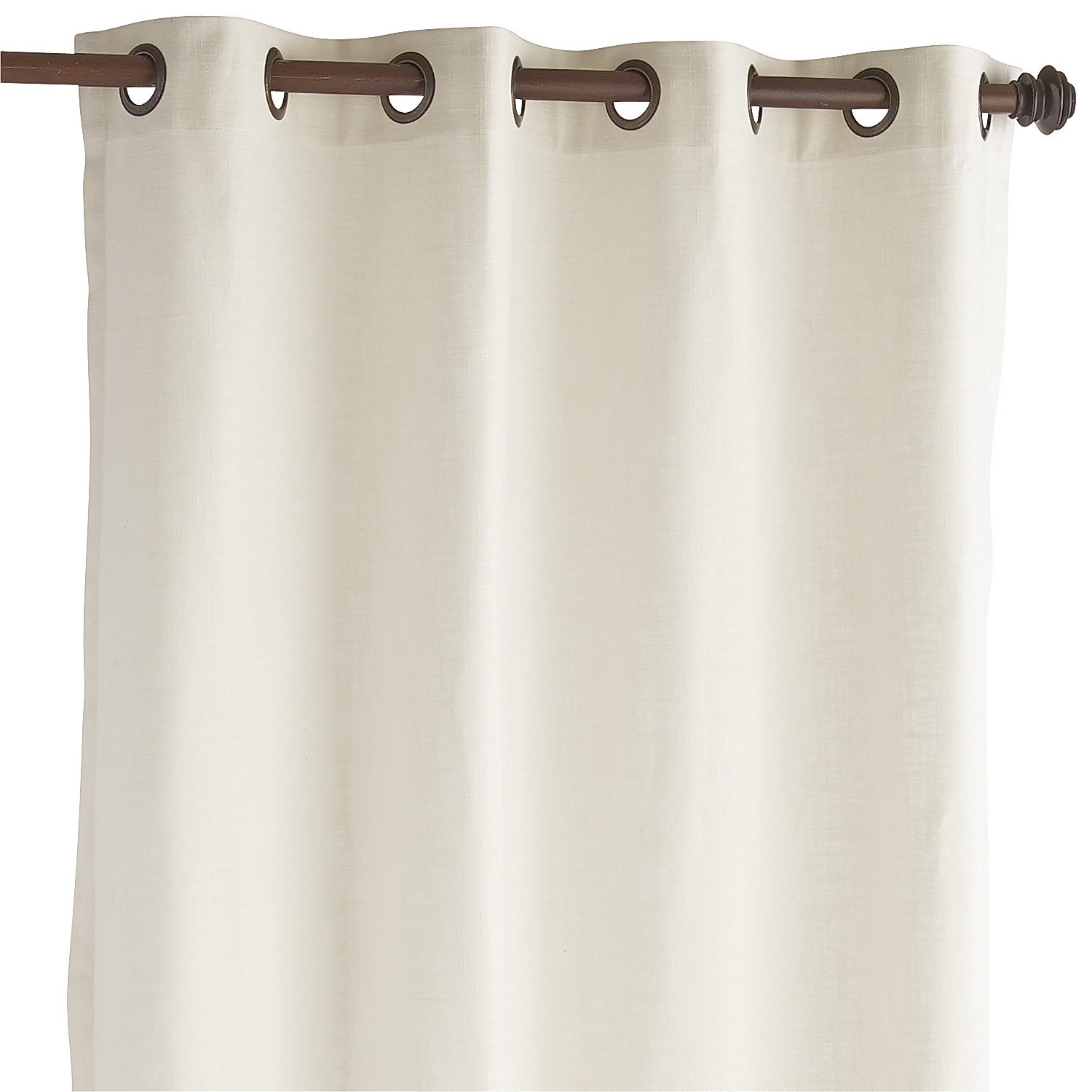 Pier 1 Imports Single Panel Unlined Cotton Curtain Cassidy Chambray Ivory 84'' Grommet Top Curtain Window Treatment