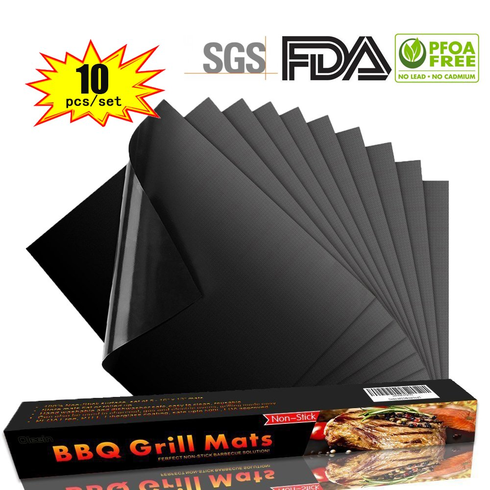 Oleein BBQ Grill Mat Set of 10 100/% Non Stick Oven Liner Teflon Cooking Mats,Perfect for Baking on Gas Charcoal,Oven and Electric Grill,Reusable and Easy to Clean,40 33cm*0.3mm Dick,260℃ 500℉