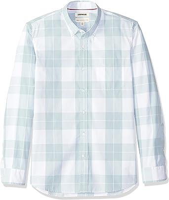 Marca Amazon - Goodthreads – Camisa de popelín a cuadros de manga larga de corte estándar y cuello con botones para hombre: Amazon.es: Ropa y accesorios