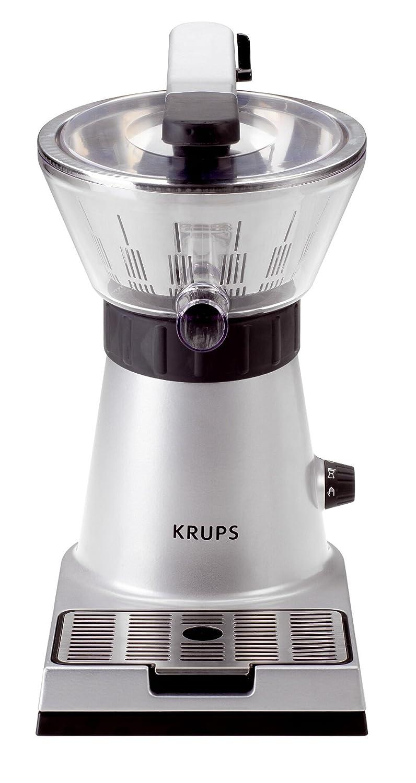 Krups Citrus Press ZX7000 - Exprimidor con tapa y clip para sujetar cítricos, filtro de pulpa, boquilla de servicio directo al vaso, 130 W, acero ...