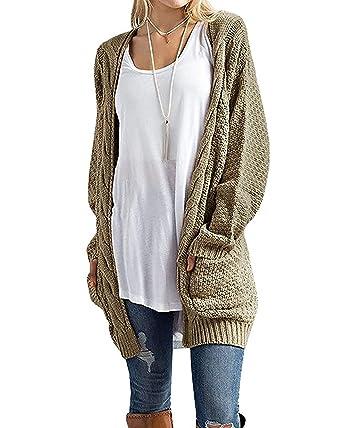 aaf86cf3f43a CNFIO Pullover Damen Strickjacke Lässig Casual Cardigan Langarm Outwear mit  Taschen Mantel Jacke Winter