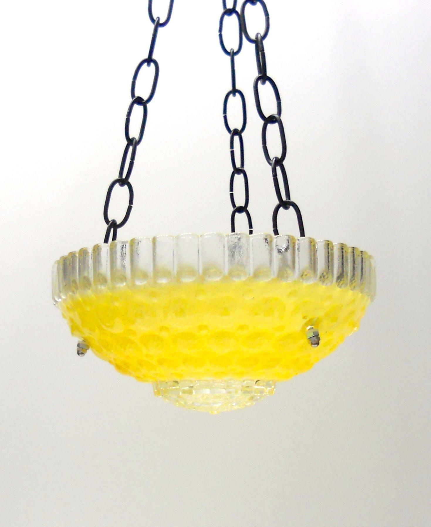 Hanging glass bird feeder in chartreuse - 1000 eyes design