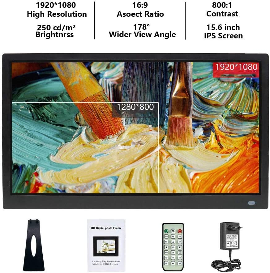 Limaomao Digital Photo Frame 15 Inch Digital Picture Frame 1280800 Pixels High Resolution Smart Electronic Frame Auto On//Off Timer Remote Control Included for Pictures and Videos