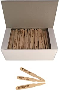 KingSeal 3.5 Inch Natural Birch Wood Steak Markers, Heat Stamped, Medium - 500 Per Box