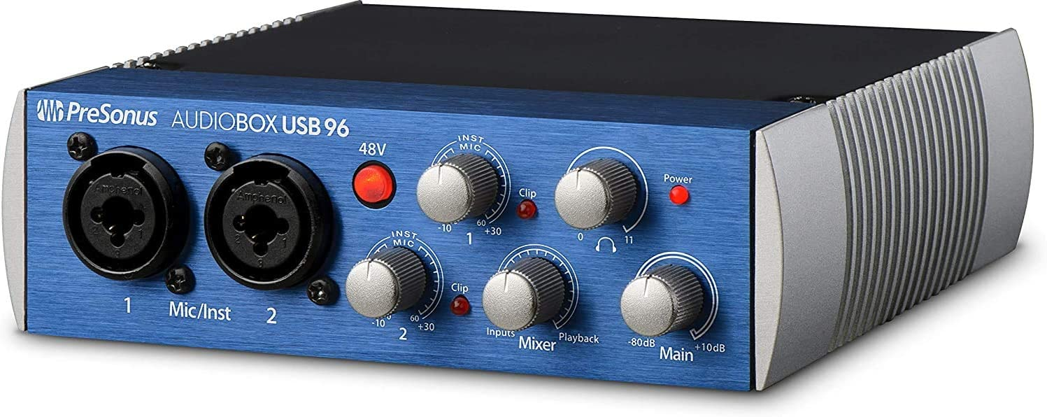 PreSonus AudioBox USB 96 2x2 USB Audio Interface, Blue, PC/Mac - 2 Mic Pres