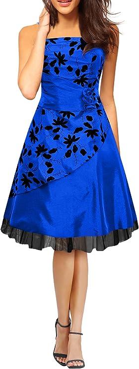 TALLA ES 48 (3XL). BlackButterfly 'SIA' Vestido De Gala De Satén Essence Azul ES 48 (3XL)