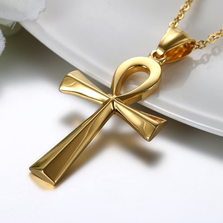 JewelryWe Schmuck Edelstahl /Ägypten /Ägyptisches Zeichen Anch o Halskette f/ür Herren Damen Silber Gold Ankh Kreuz Anh/änger mit 50cm Kette