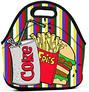 Hamburger French Fries And Coke Insulated Neoprene Lunch Bag Cooler Tote Handbag Lunch Box Food Container Gourmet Tote Warm Pouch For School Work Office