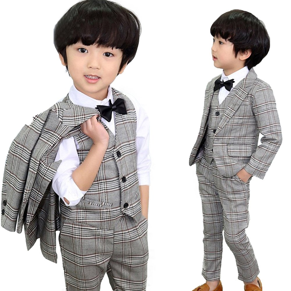 DREAMOWL 5Pcs Toddler Boys Gray Plaid Suits Wedding Party Tuxedo Jacket + Vest + Pants+Shirt+Bow tie Sz 2T-8 (2-3 Yrs)