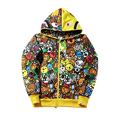Amazon.com  Mulynn Fashion Bape Casual Hoodie Jacket for Men Women  Clothing f854f2c5d